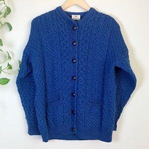 Carraig Donn Blue Cardigan Aran 100% Merino Wool M